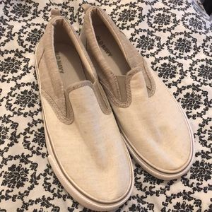 Other - Sneakers slip on  boys size 4 cream  old navy nwot